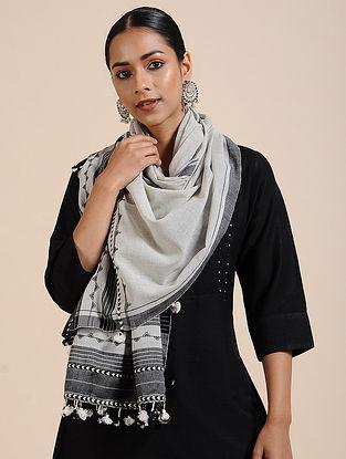 Ivory-Black Handloom Cotton Stole with Tassels