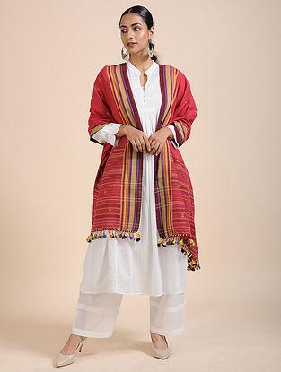 Pink-Yellow Handloom Cotton Dupatta with Tassels