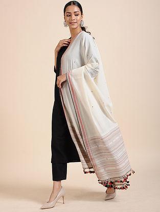 Ivory Handloom Cotton Dupatta with Tassels
