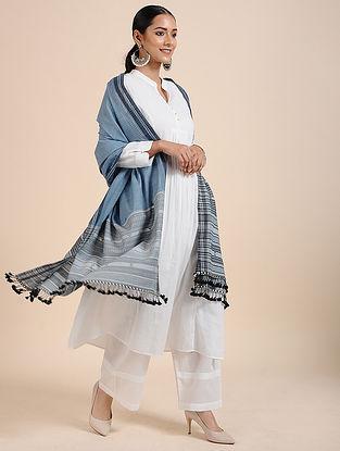 Blue-Grey Handloom Cotton Dupatta with Tassels