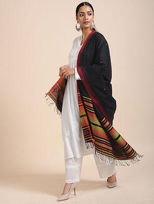 Black-Red Handloom Cotton Dupatta