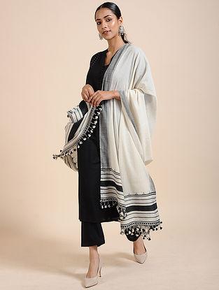 Ivory-Black Handloom Cotton Dupatta with Tassels