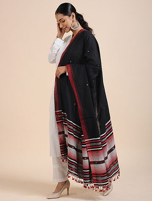 Black-Red Handloom Cotton Dupatta with Tassels