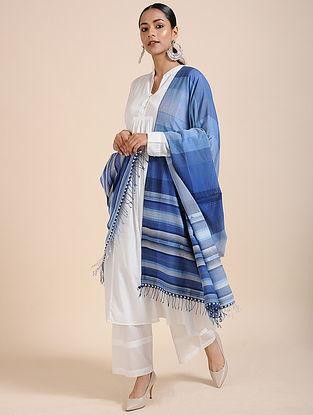 Blue-Ivory Handloom Cotton Dupatta