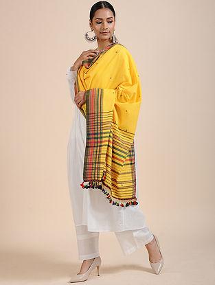 Yellow-Green Handloom Cotton Dupatta with Tassels