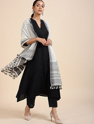 Ivory-Black Handloom Cotton Dupatta with Tassels