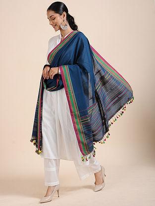 Blue-Green Handloom Cotton Dupatta with Tassels