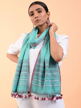 Blue-Pink Cotton Stole with Tassels