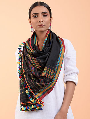 Black Cotton Stole with Tassels