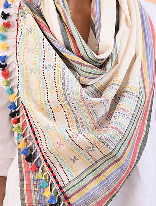 White Cotton Stole with Tassels