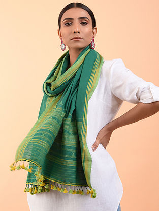 Green-Yellow Cotton Stole with Tassels