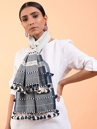 White-Blue Cotton Stole with Tassels