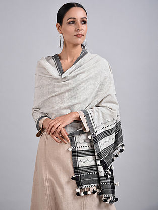 Ivory-Black Handwoven Cotton Stole