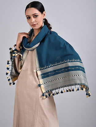 Blue-Ivory Handwoven Cotton Stole