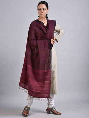 Maroon Handwoven Cotton Dupatta