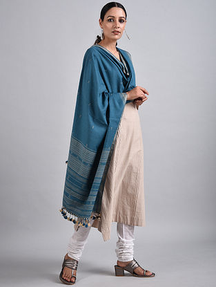 Blue Handwoven Cotton Dupatta