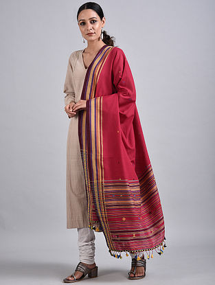 Pink Handwoven Cotton Dupatta