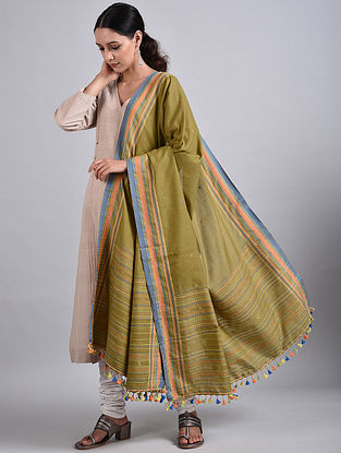 Green Handwoven Cotton Dupatta