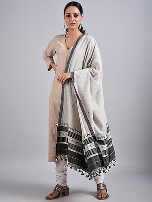 Ivory-Black Handwoven Cotton Dupatta