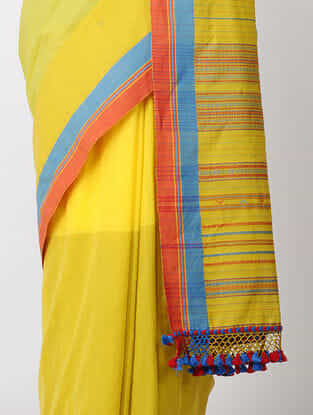 Yellow-Red Cotton Saree with Tassels