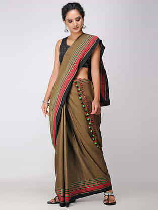 Olive-Pink Cotton Saree with Tassels