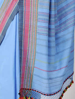 Blue-Pink Cotton Saree with Tassels
