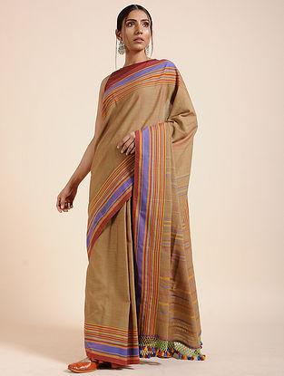 Beige-Purple Handloom Cotton Saree with Tassels