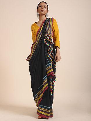 Black-Yellow Handloom Cotton Saree with Tassels