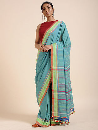 Blue-Green Handloom Cotton Saree with Tassels