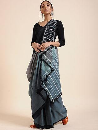 Grey-Black Handloom Cotton Saree with Tassels