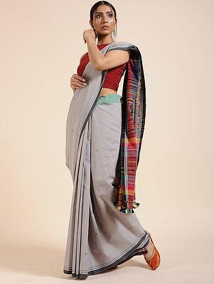 Grey-Red Handloom Cotton Saree with Tassels
