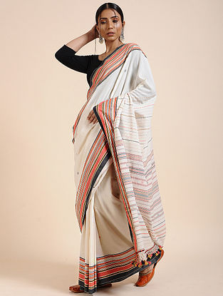 Ivory-Red Handloom Cotton Saree with Tassels