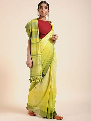 Yellow-Green Handloom Cotton Saree with Tassels