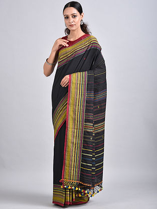 Black-Yellow Handwoven Cotton Saree