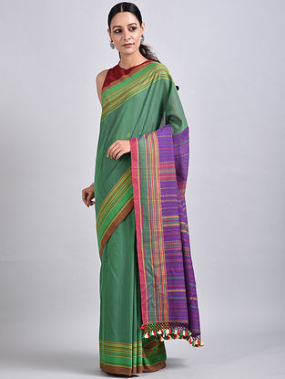 Green-Purple Handwoven Cotton Saree
