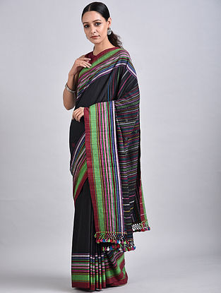 Black Handwoven Cotton Saree with Tassels