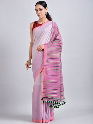 Ivory-Pink Handwoven Cotton Saree with Tassels