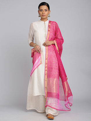 Pink Chanderi Handloom Dupatta with Zari