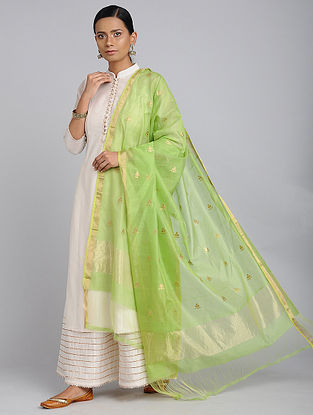 Green Chanderi Handloom Dupatta with Zari