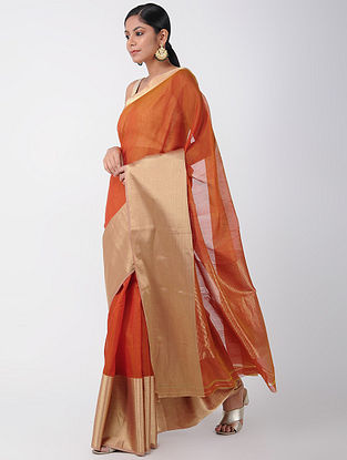 Red Chanderi Saree with Zari