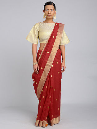 Red Chanderi Handloom Saree with Zari