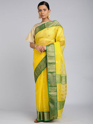 Yellow-Green Chanderi Handloom Saree with Zari