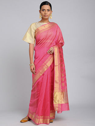 Pink Chanderi Handloom Saree with Zari