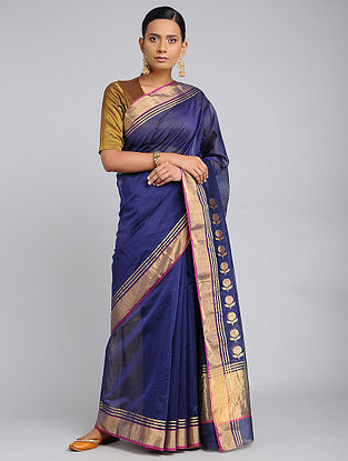 Blue Chanderi Handloom Saree with Zari