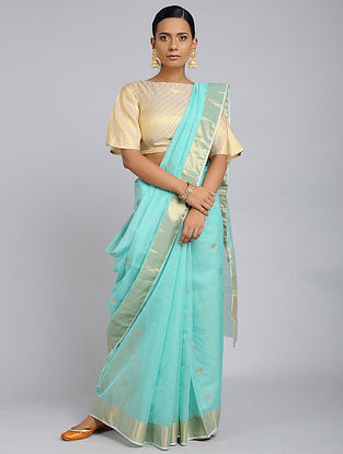 Turquoise Chanderi Handloom Saree with Zari
