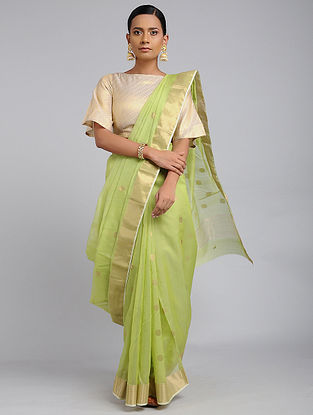 Green Chanderi Handloom Saree with Zari