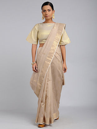 Beige Chanderi Handloom Saree with Zari