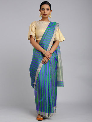Green-Blue Chanderi Handloom Saree with Zari