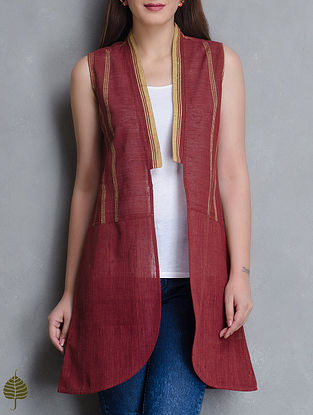 Maroon-Mustard Natural Dye Handloom Cotton Open Jacket by Jaypore