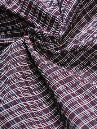 Maroon-Ivory Checkered Natural-dyed Malkha Fabric